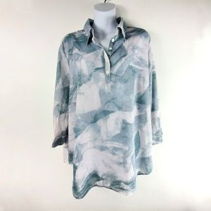 Coldwater Creek No Iron Popover Blouse Watercolor
